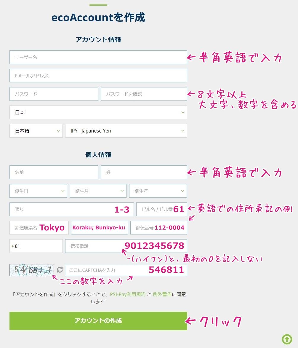 エコアカウント作成画面