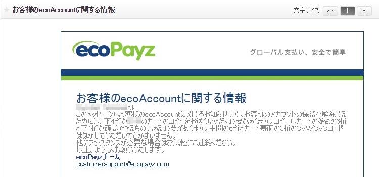 ecoAccountに関するメール