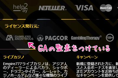 Gamblers Anonymousの監査 表記