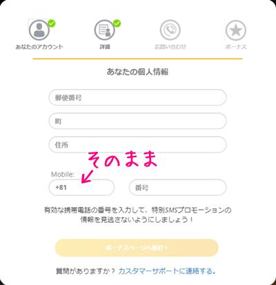 ネットベットの個人情報入力画面2(PC)