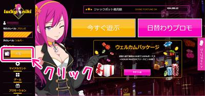 ラッキーニッキーカジノのホームページ