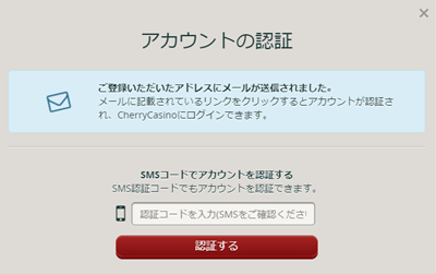 アカウント認証画面