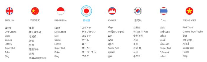 w88 言語選択画面