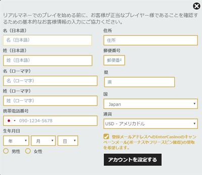 インターカジノの個人情報入力画面(PC)