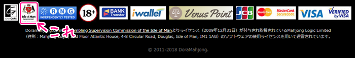 DORA麻雀のライセンス表記