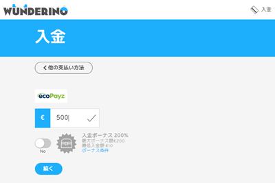 ワンダリーノカジノ 入金画面